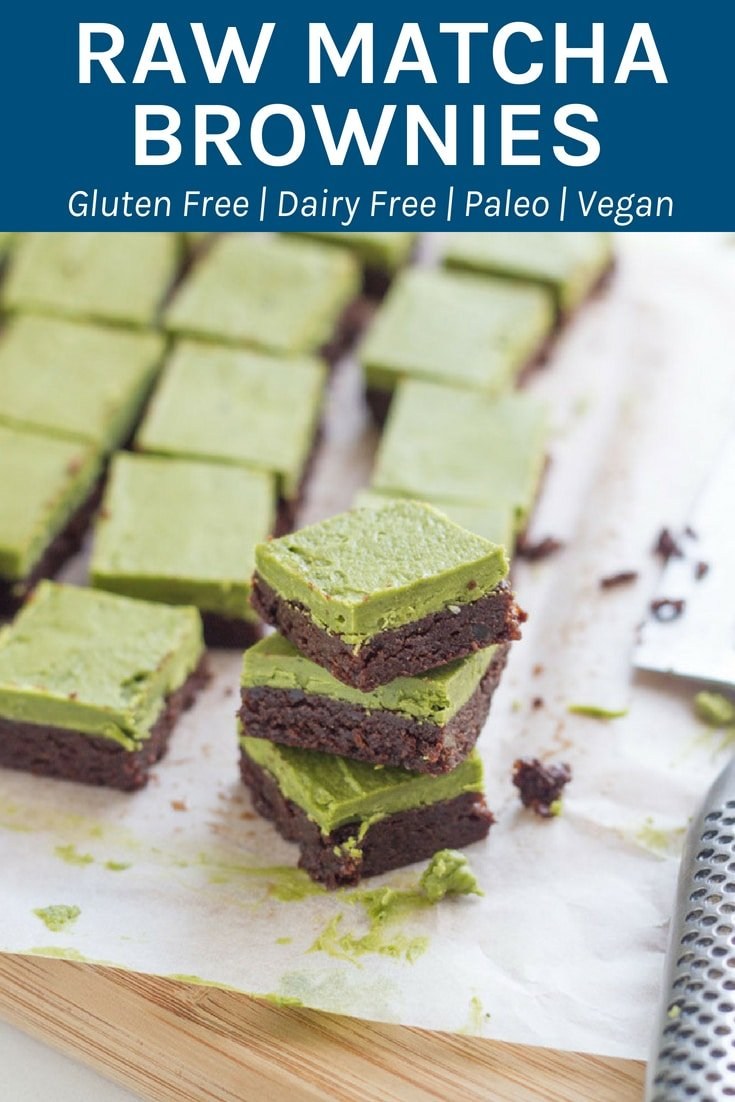 Raw Matcha Brownies. This gluten & dairy free dessert tastes as good as it looks! It is packed with lots of healthy goodness and is super easy to make. YUM! #matcha #rawdessert #healthyeating | becomingness.com.au