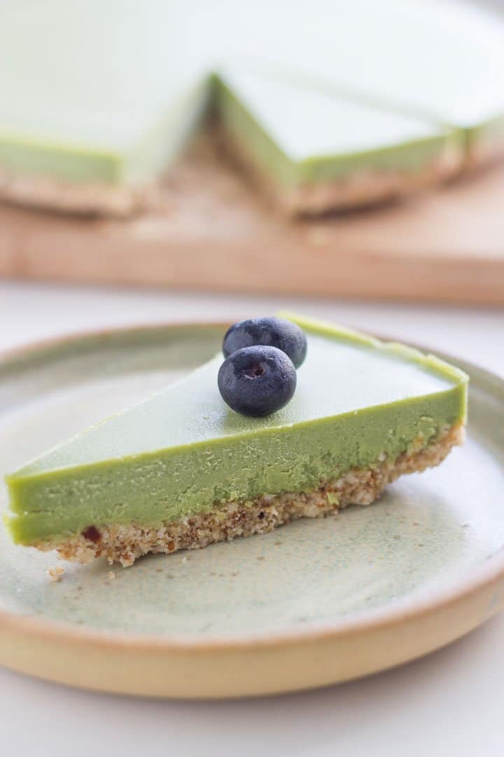 This raw matcha cheesecake is gluten, dairy and refined sugar free and is suitable for both paleo and vegan lifestyles. The recipe is quite easy to make and will be a hit with your family and friends.#matcha #rawdessert #cheesecake #glutenfree   becomingness.com