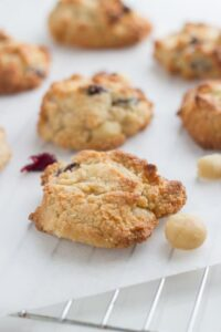 Cranberry + Macadamia Cookies. These cookies are absolutely delicious and so easy to make! They take 5 minutes to prepare and 10 minutes to bake.