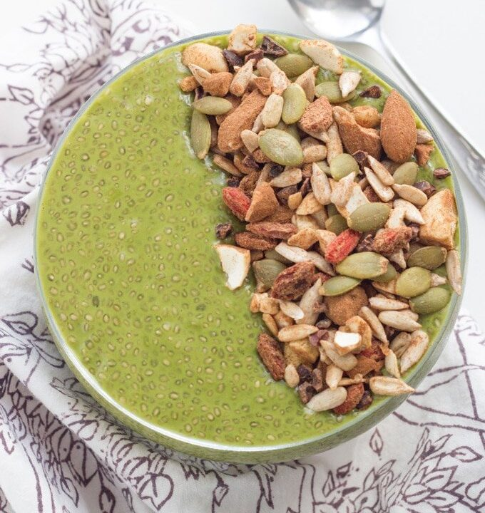 Matcha Chia Pudding. Combine my love of chia puddings with matcha green tea powder. DELICIOUS!!
