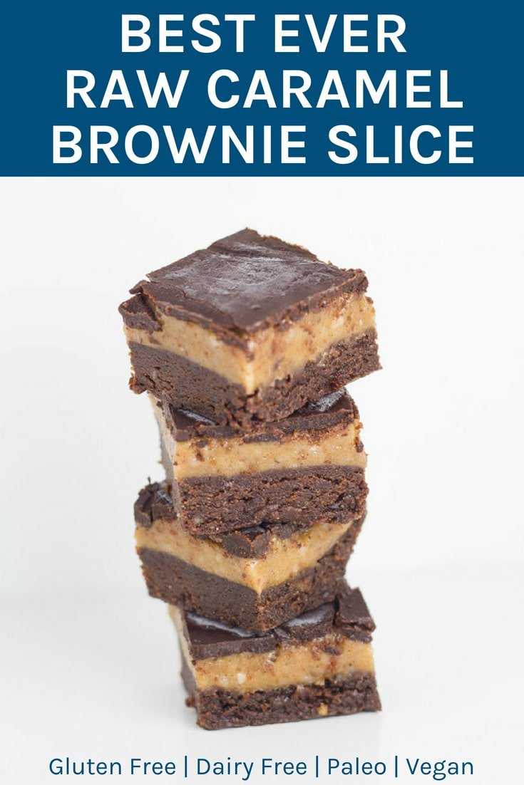 My Best Ever Raw Caramel Brownie Slice is gluten, dairy and refined sugar free (as always) and suitable for paleo and vegan lifestyles. There are three layers to this masterpiece, the chocolate brownie base, a gooey caramel layer and crunchy chocolate layer to top it off.