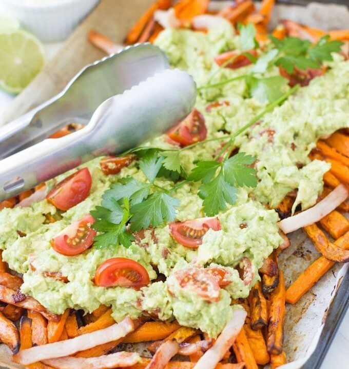 Loaded Sweet Potato Fries. Guaranteed to be a regular feature in your household. It is a low cost meal which is super easy to prepare and it tastes absolutely amazing.