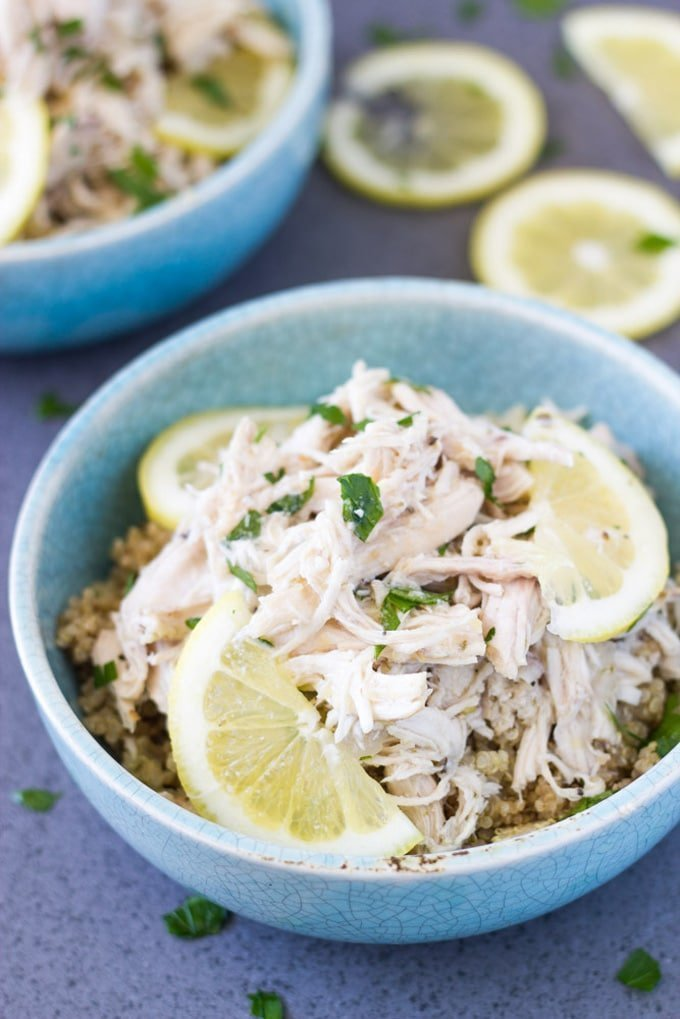 how the Slow Cooker Shredded Lemon Garlic Chicken looks when ready to eat