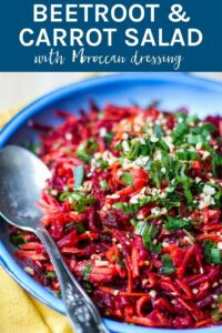 This Beetroot & Carrot Salad with Moroccan Dressing is packed full of healthy and delicious ingredients, which you can enjoy as a stand alone meal or serve it to your guests at your next dinner party. It is an impressive dish!