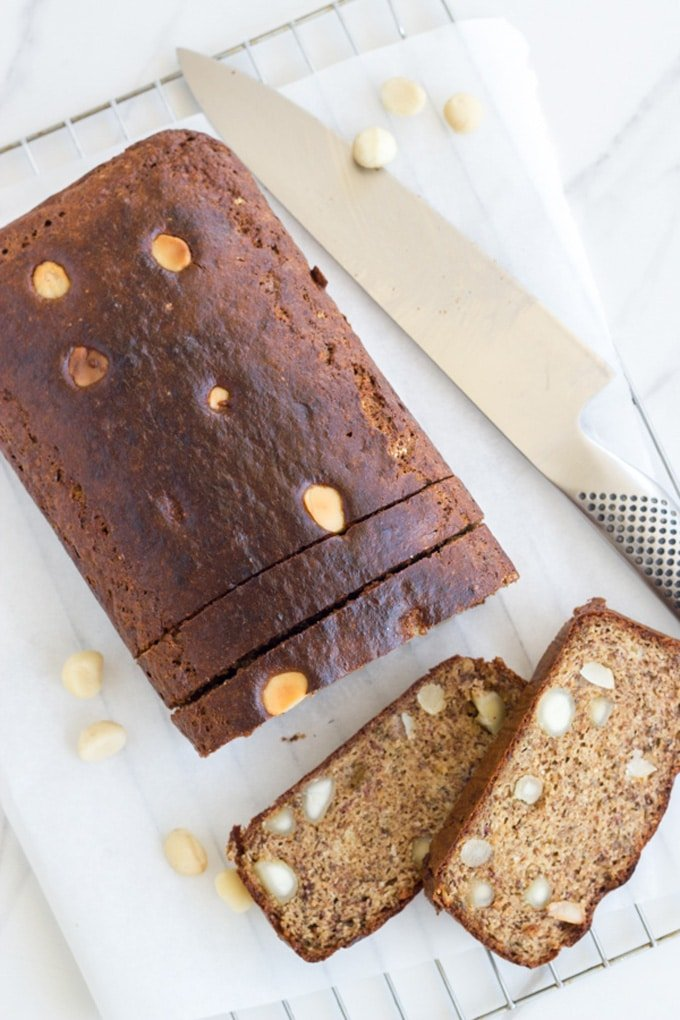 10 Best Healthy Breakfast Recipes | Banana and Macadamia Bread that is sugar free and delicious too. YES PLEASE! This recipe is made with banana, eggs, almond meal, nut butter and macadamias | becomingness.com