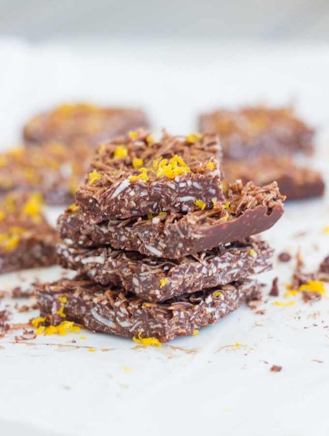 Jaffa coconut rough is made with 5 ingredients - coconut oil, cacao, shredded coconut, maple syrup and wild orange essential oil.