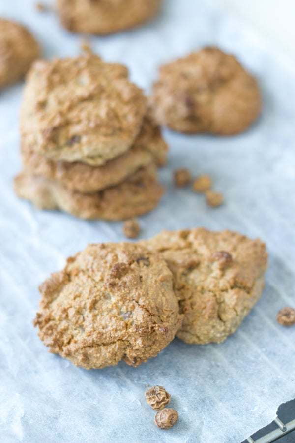 These tigernut flour chocolate chip cookies are super simple to make and taste absolutely delicious. They only lasted for a few hours in my house.