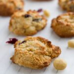 Cranberry & Macadamia Cookies. These cookies are absolutely delicious and so easy to make! They take 5 minutes to prepare and 10 minutes to bake. How good is that !?!