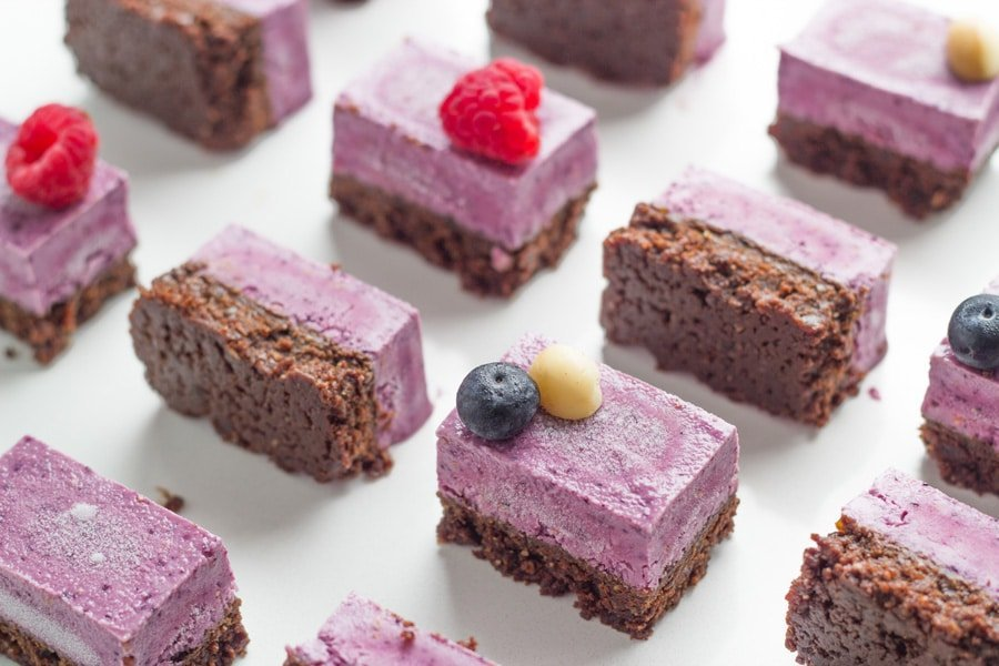 Raw Berry and Chocolate Brownie Slice