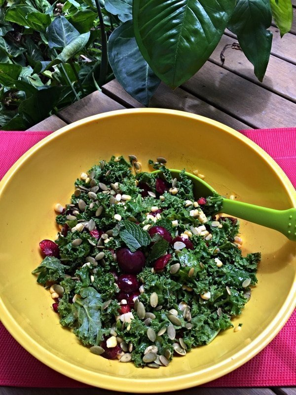 Kale and Cherry Salad with a Mango-Mint Dressing