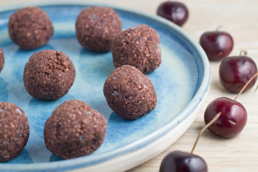 Raw Chocolate Cherry Bliss Balls. These bliss balls are gluten, dairy, nut and refined sugar free, as well as super easy to make.