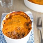 Sweet Potato Cottage Pie. Gluten and dairy free, made with grass fed beef, mashed sweet potato and lots of vegetables. YUM!