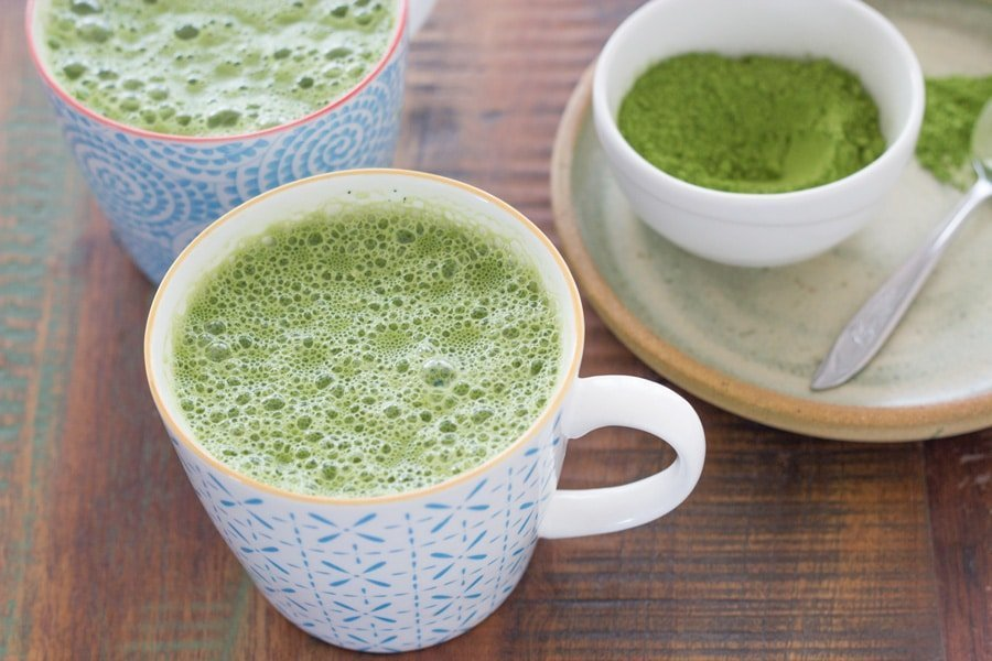 Matcha Lattes. A really tasty & healthy drink that will still gives you a morning pick me up, but with much less caffeine.