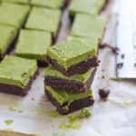 Raw Matcha Brownies. This dessert tastes as good as it looks! It is acked with lots of healthy goodness and is super easy to make. YUM!
