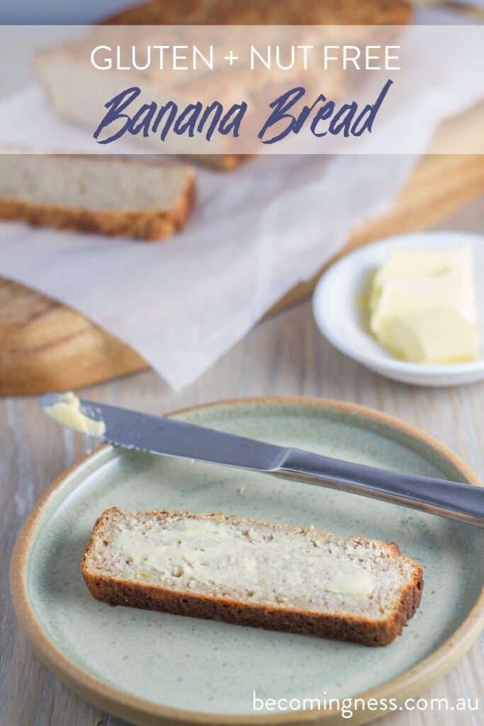 Banana Bread. Not only is the banana bread gluten and nut free, it is also dairy free as well as sugar free, as it is only sweetened by the bananas. Healthy and delicious!!