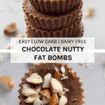 These chocolate nutty fat bombs are the perfect raw chocolate treat if you are following a keto or low carb high fat (aka LCHF) as they are only sweetened by stevia.