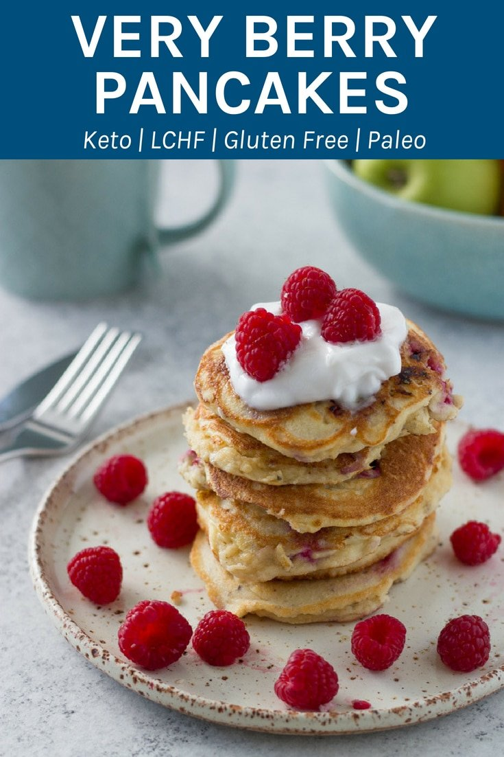 These very berry pancakes are amazing. They are so healthy and suitable for keto, lchf, paleo, gluten and dairy free lifestyle. #pancakes #ketopancakes #glutenfree #paleo | becomingness.com.au