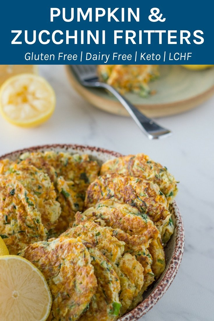These pumpkin & zucchini fritters are perfect either as a snack or as a main meal served with a salad. They are gluten, dairy and suitable for keto/lchf plus they are infused with cilantro and thyme essential oils. I love to make a big batch of these on the weekend to enjoy over a few days.#glutenfree #dairyfree #paleo #lchf #keto #essentialoils   becomingness.com.au