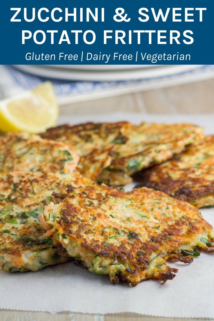 Zucchini and Sweet Potato Fritters These gluten free and healthy fritter are packed full of flavour and are super easy to make. Includes a vegan option