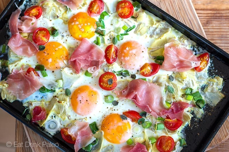 Italian Sheet Pan Eggs With Artichokes & Prosciutto - 19 of the best low carb keto breakfast recipes for every occasion. Whether you are in a hurry or it's the weekend, you will find recipes to suit every occasion.