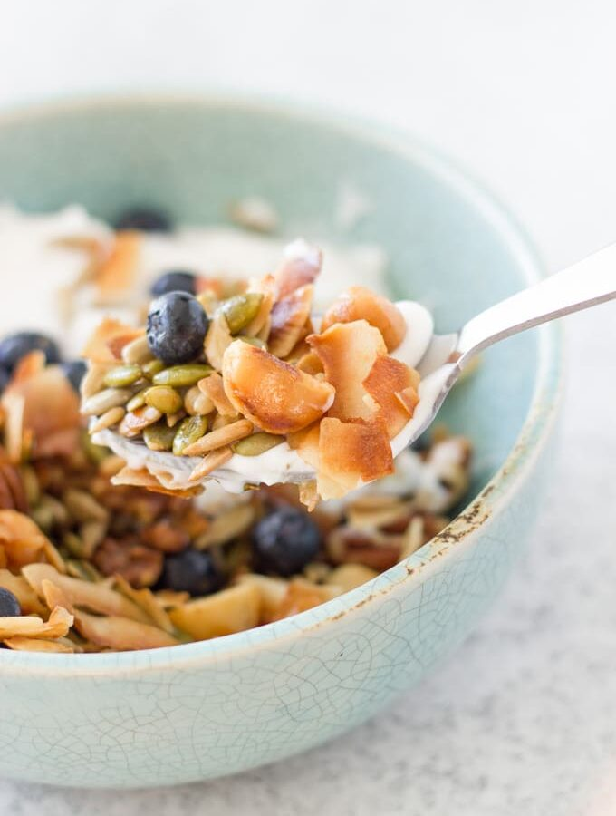 This simple grain free Granola is made only with nuts and seeds and infused with essential oils. It is such an easy recipe low-carb to make and you can enjoy it for breakfast or as a snack