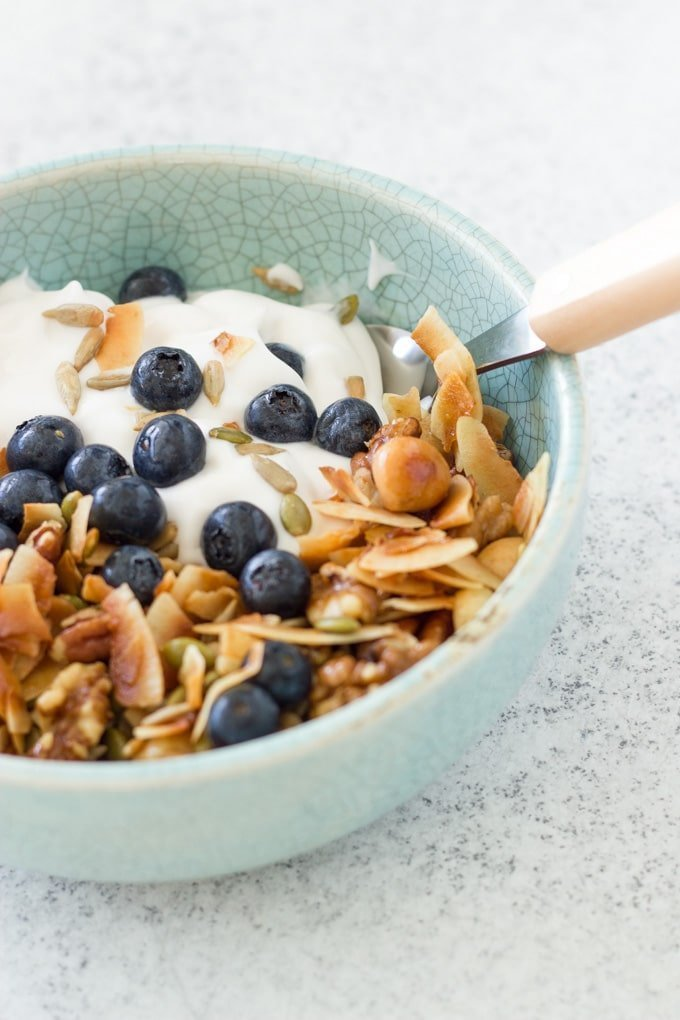 This simple grain free Granola is made only with nuts and seeds and infused with essential oils. It is such an easy recipe low-carb to make and you can enjoy it for breakfast or as a snack.