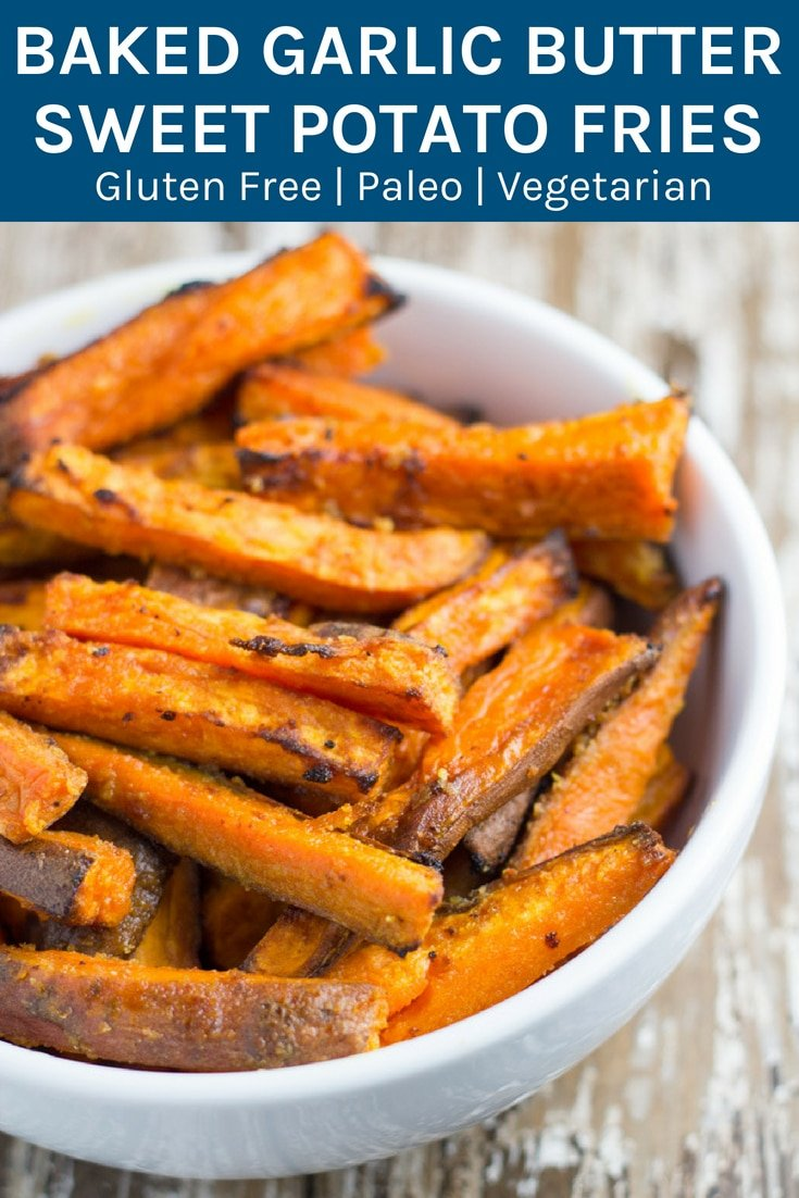 Baked Garlic Butter Sweet Potato Fries. These fries are so easy to make and they make a great side to so many meals or they are just as awesome on their own! #paleo #sweetpotato #fries #healthyeating | becomingness.com.au