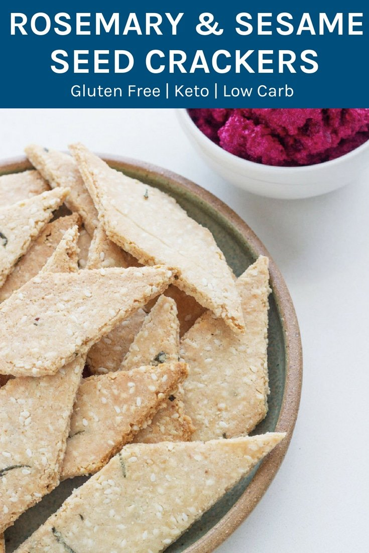 These Rosemary and Sesame Seed Crackers were created to go with my Roast Beetroot, Onion + Macadamia Dip and are an absolute winner. #keto #lowcarb #glutenfree #essentialoils | becomingness.com.au
