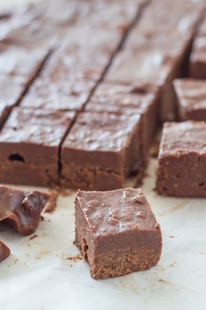 This raw chocolate orange fudge is one delicious, easy to make treat. It contains only 5 ingredients and takes no time to whip up and set in the freezer!