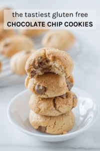 The tastiest gluten free chocolate chip cookies ever. Made with 7 easy-to-find ingredients and the recipe is super simple to make.