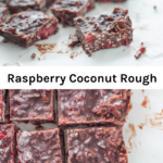 Raspberry coconut rough is a recipe you need to make now! Made with only 5 ingredients and it takes no time to prepare! You can also make it low carb or keto friendly by swapping the maple syrup with stevia.