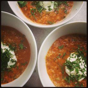 Middle Eastern Red Lentil Soup with Sumac and Mint