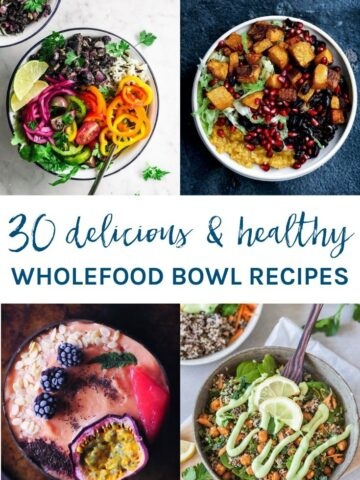 I've got you covered for breakfast, lunch and dinner with these 30 awesome healthy whole food bowl recipes.Included are Buddha bowls, nourish bowls, breakfast bowls, smoothie bowls and more to suit your eating style