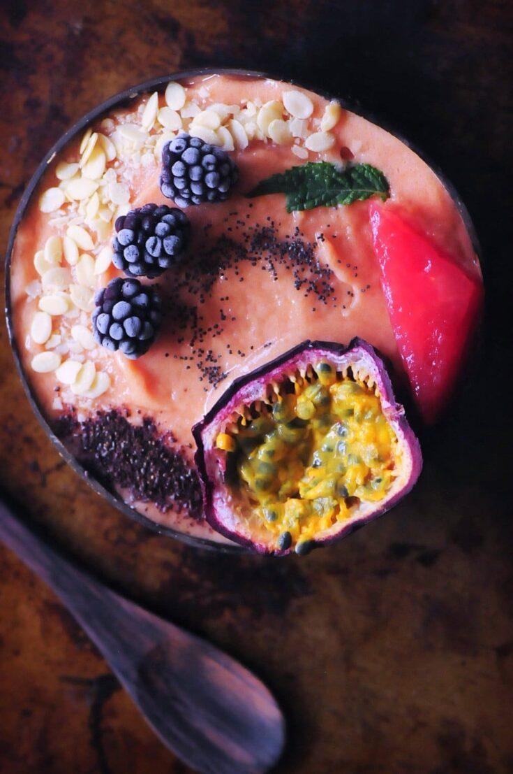 Papaya Watermelon Nice Cream Smoothie Bowl