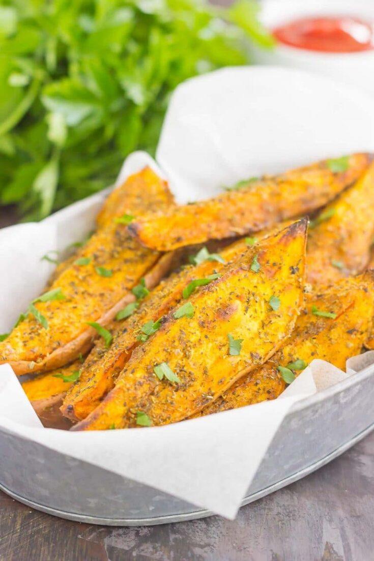 Garlic Herb Sweet Potato Wedges