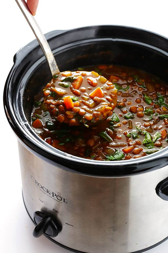 Slow Cooker Curried Lentil Soup | Gimme Some Oven