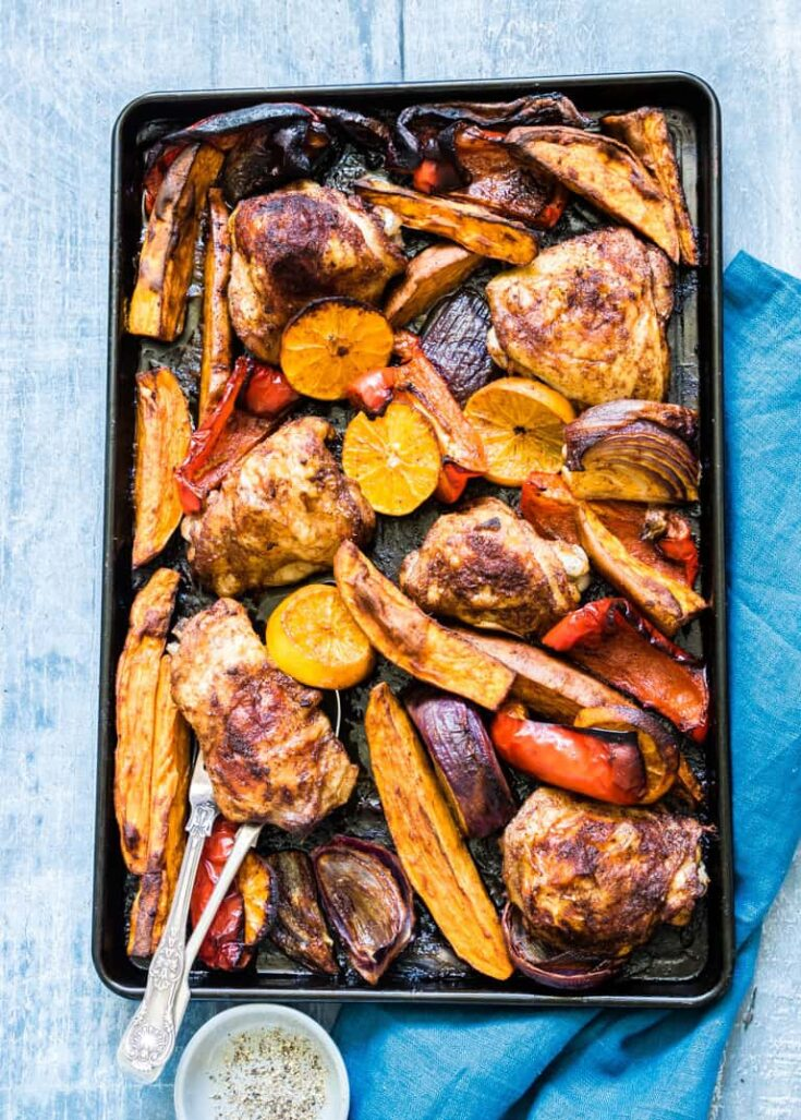 Sheet Pan Baked Chicken Thighs and Sweet Potato