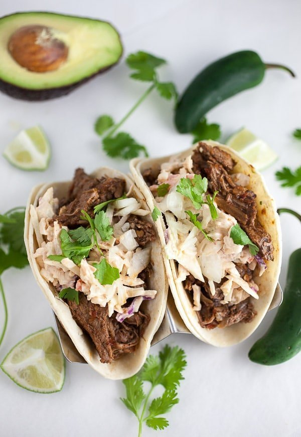 Slow Cooker Barbacoa Tacos with Chipotle Slaw