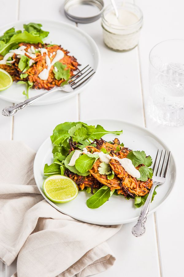 Sweet Potato Fritters with Lime Cashew Cream