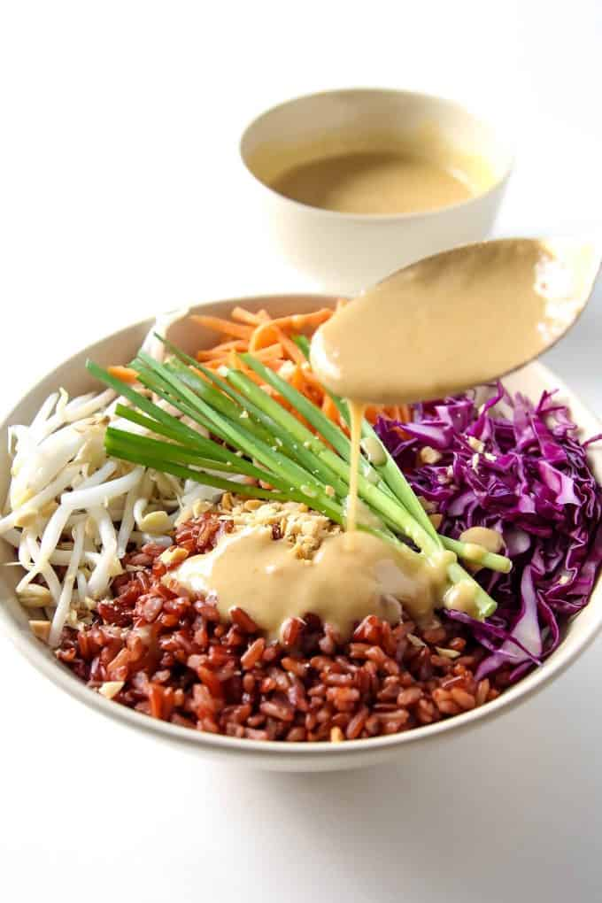 Thai Buddha Bowl with Peanut Sauce VIDEO » LeelaLicious