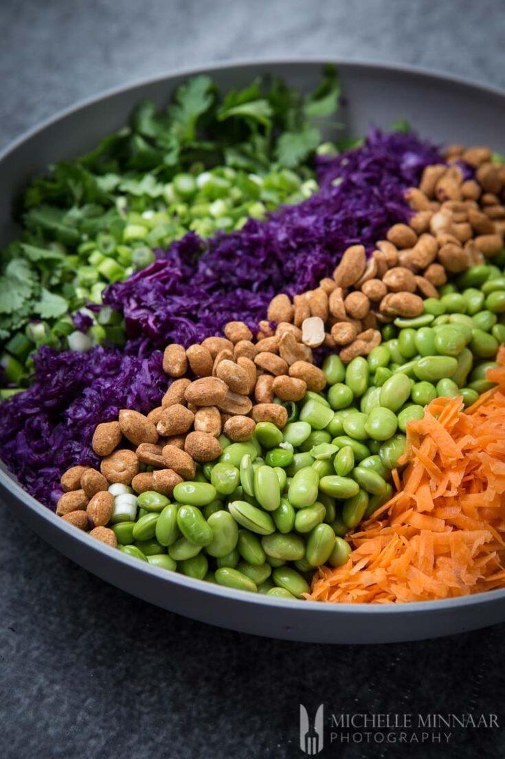 Shredded Rainbow Salad with Edamame