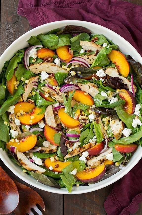 Peach Salad with Chicken & White Balsamic Dressing
