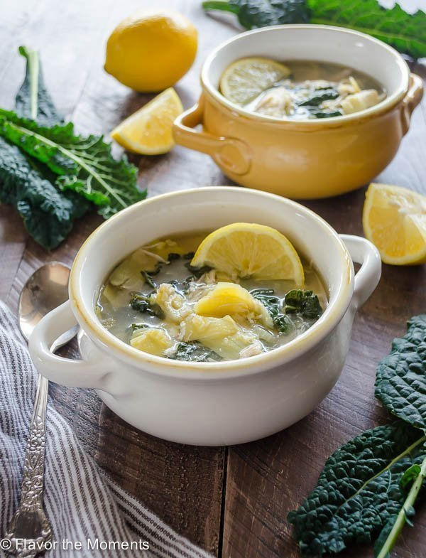 Slow Cooker Lemon Chicken Artichoke Soup