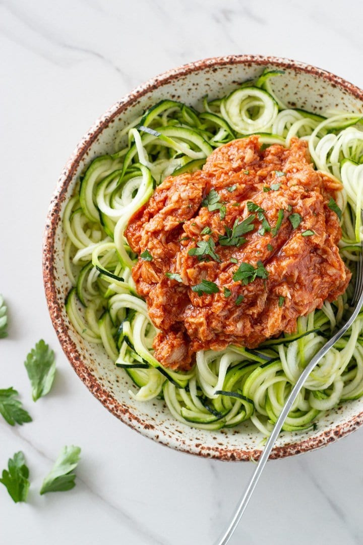 This zucchini pasta with tuna and tomato sauce has become one of my favourite go-to recipes. It is super healthy and takes less than 15 minutes to make. It is perfect for keto, low-carb, paleo and whole30 lifestyles.