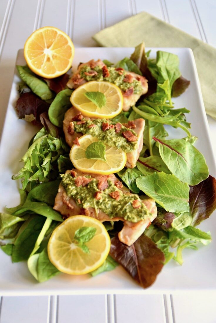 Paleo Lemon Chicken with Mint Gremolata and Bacon