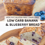 Low carb banana and blueberry bread - sweetened only by the blueberries and banana. AND it is also gluten and dairy free.
