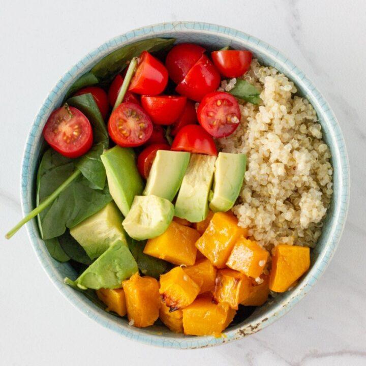 Quinoa Salad with Roast Pumpkin, Avocado & Cherry Tomato