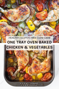 One tray oven baked chicken and vegetables is your weekly go-to roast chicken dish. This easy to make dish is made with a delicious marinade and easy to prep veggies.