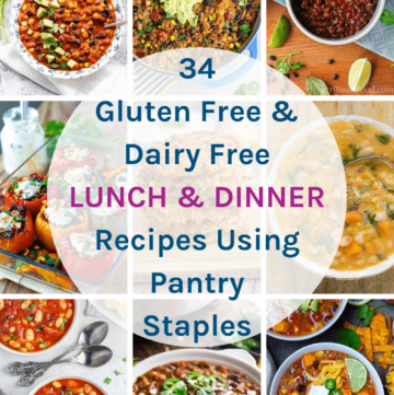 34 Gluten Free Dairy Free Lunch & Dinner Recipes Using Pantry Staples - These recipes all use pantry staples that you should keep on hand to help you during times of crisis. Included are recipes that use tinned tomatoes & passata, quinoa & rice, tinned tuna or beans & lentils.
