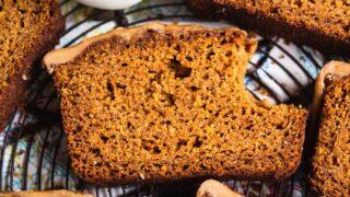 Paleo & Gluten Free Pumpkin Bread with Maple Glaze